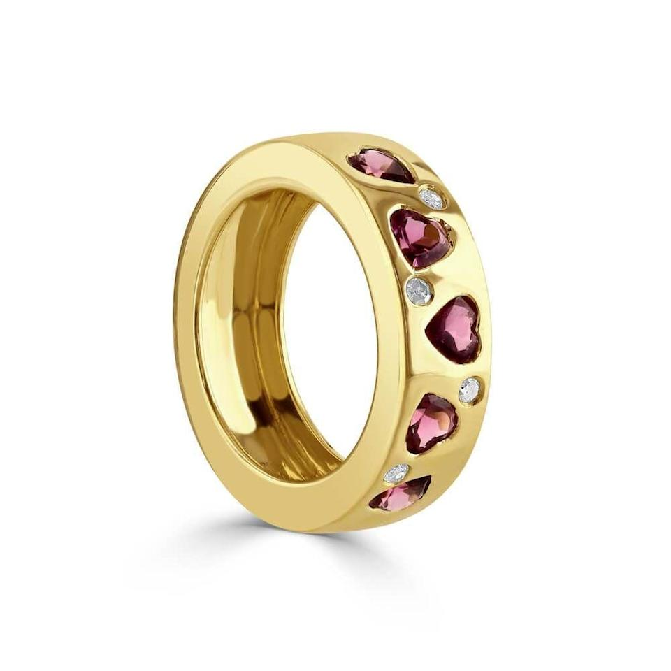 """<p><a class=""""link rapid-noclick-resp"""" href=""""https://samijewellery.com/products/heart-pink-tourmaline-and-gold-ring"""" rel=""""nofollow noopener"""" target=""""_blank"""" data-ylk=""""slk:SHOP NOW"""">SHOP NOW</a></p><p>Designed in London and handmade in Jaipur using ethically sourced stones, this pretty love token also gives love back – five per cent of its profits go to Future Hope, a charity that provides classroom education for children living in slums across India. </p><p>Gold, pink tourmaline and diamond ring, £1,625, <a href=""""https://samijewellery.com/collections/sami"""" rel=""""nofollow noopener"""" target=""""_blank"""" data-ylk=""""slk:Sami"""" class=""""link rapid-noclick-resp"""">Sami</a>.</p>"""