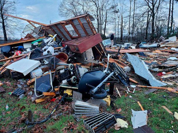 PHOTO: A photo shows damage from severe weather, including the home of an elderly in Bossier Parish, La., Jan. 11, 2020. (Bossier Parish Sheriff's Office via AP)