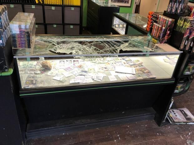The smashed-in display case at the Deck Box in Halifax. The thief or thieves were able to bust through this case but weren't able to break into a second case.