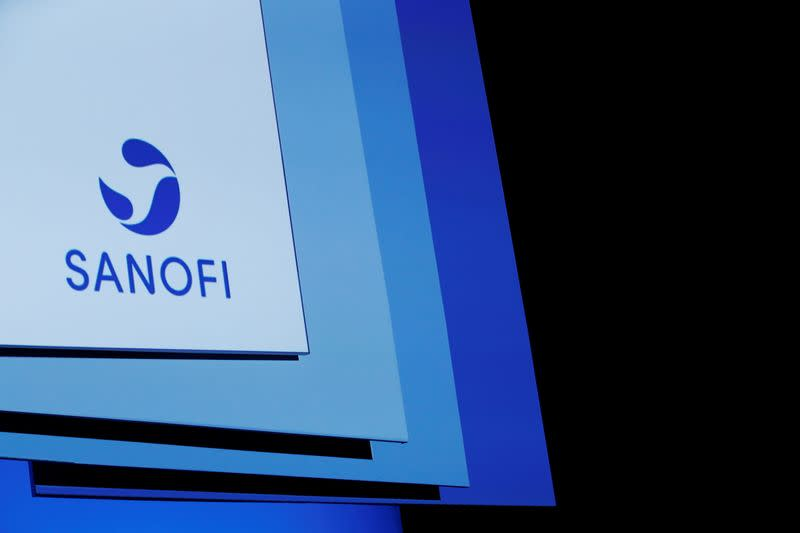 FILE PHOTO: A logo of Sanofi is pictured during the company's shareholders meeting in Paris