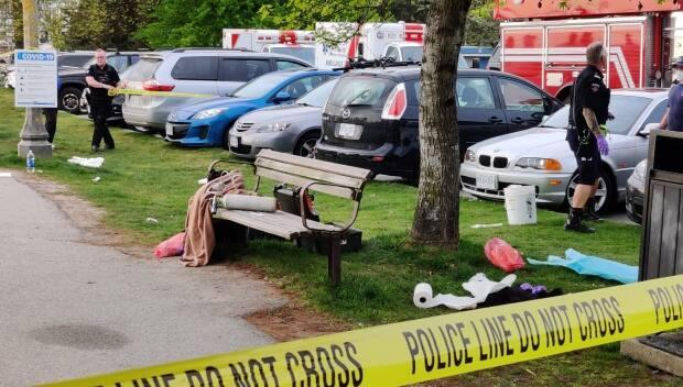 Police tape off the crime scene at Ambleside Park in West Vancouver, B.C.