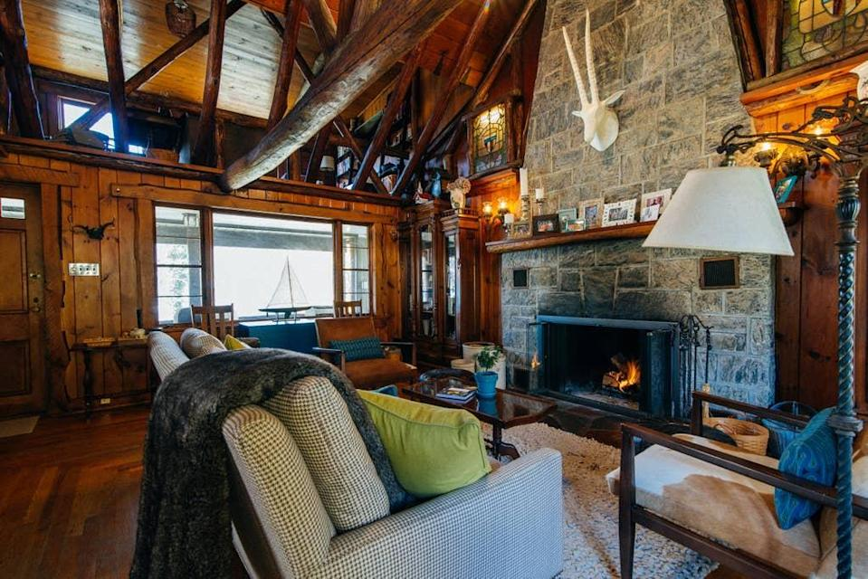"""<h2>Greenwood Lake, New York </h2><br><br><strong>Location:</strong> Greenwood Lake, New York<br><strong>Sleeps:</strong> 4<br><strong>Price Per Night:</strong> <a href=""""https://airbnb.pvxt.net/ge3K0"""" rel=""""nofollow noopener"""" target=""""_blank"""" data-ylk=""""slk:$250"""" class=""""link rapid-noclick-resp"""">$250</a><br><br>""""Our chestnut log cabin was built in the 1930s. The views of the lake from the hot tub are great. Roast marshmallows around the fire pit on the deck or play games with the family in the main room. We are close to family-friendly skiing and tubing. A great getaway only an hour from Manhattan!""""<br><br><h3>Book <a href=""""https://airbnb.pvxt.net/ge3K0"""" rel=""""nofollow noopener"""" target=""""_blank"""" data-ylk=""""slk:Log Cabin At Greenwood Lake"""" class=""""link rapid-noclick-resp"""">Log Cabin At Greenwood Lake</a></h3>"""