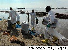 BP and others are hiring thousands of workers to clean up the oil spill, bringing customers to hotels and restaurants while other businesses -- like fishing companies -- suffer from the beach closures.
