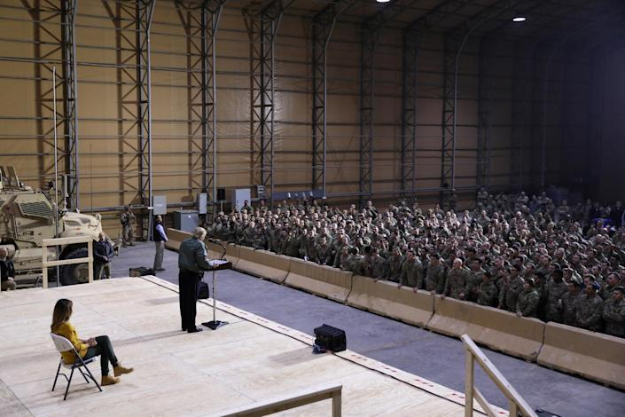 President Trump delivers remarks to the troops at Al Asad Air Base. (Photo: Jonathan Ernst/Reuters)