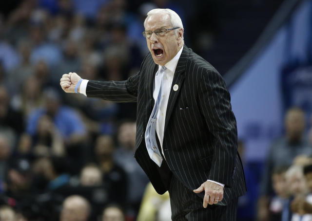 North Carolina head coach Roy Williams directs his team against Duke during the first half of an NCAA college basketball game in the Atlantic Coast Conference tournament in Charlotte, N.C., Friday, March 15, 2019. (AP Photo/Nell Redmond)