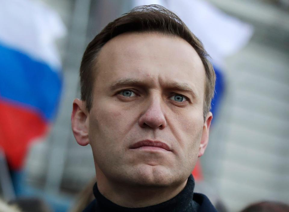 Russian opposition activist Alexei Navalny is pictured taking part in a march in memory of Boris Nemtsov in Moscow, Russia.