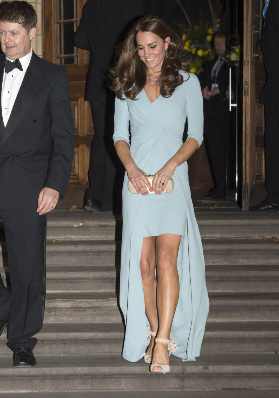 <p>Kate wowed at a London gala in a pale blue evening gown by favoured designer, Jenny Packham. A custom Alexander McQueen clutch and pink L.K. Bennett sandals topped off her gorgeous outfit. </p><p><i>[Photo: PA]</i></p>