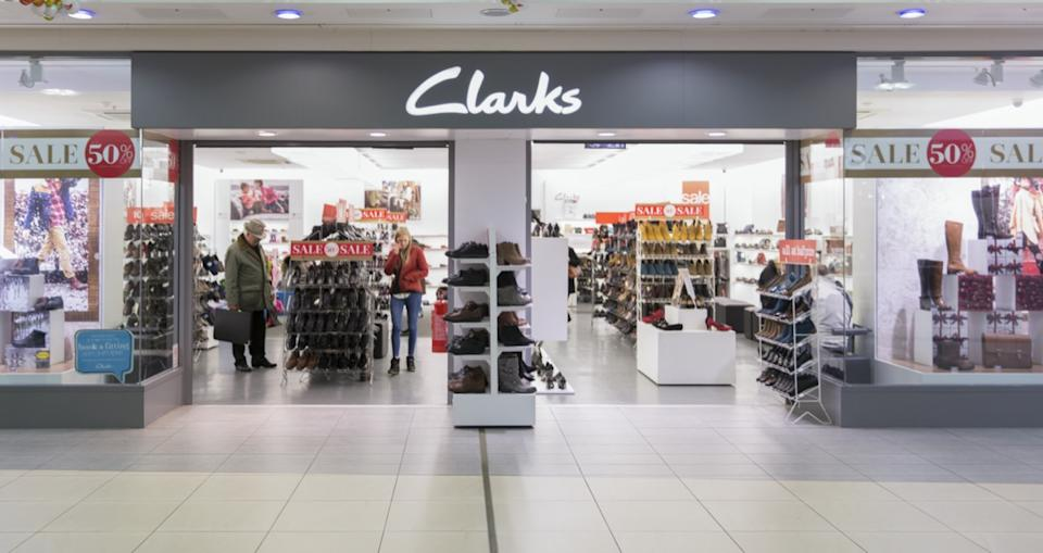 clarks store entrance within mall