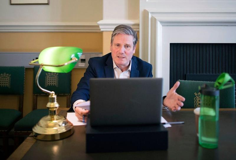 Labour party leader Sir Keir Starmer holds an online phone-in with residents in Glasgow, as part of his 'Call Keir' series
