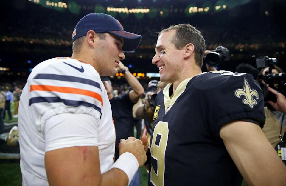 Oct 29, 2017; New Orleans, LA, USA; Chicago Bears quarterback Mitchell Trubisky (10) talks to New Orleans Saints quarterback Drew Brees (9) after their game at the Mercedes-Benz Superdome. The Saints won, 20-12. Mandatory Credit: Chuck Cook-USA TODAY Sports