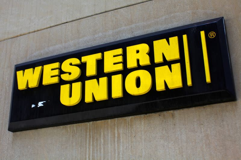 FILE PHOTO: A Western Union sign is seen in New York