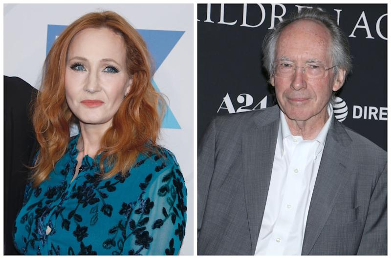 Ian McEwan (right) is among the literary figures to express support for JK Rowling (Rex)