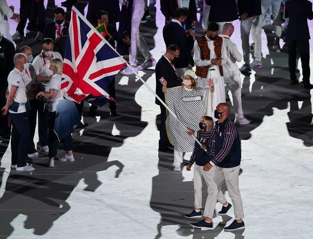 Hannah Mills carried the British flag with Mohamed Sbihi at the opening ceremony