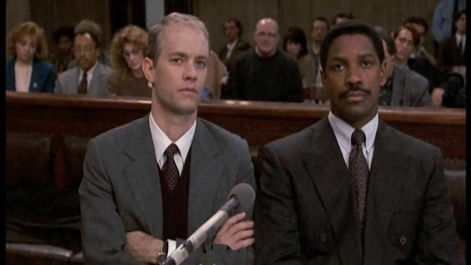 """<p>In this powerful film about the AIDs crisis, Denzel Washington and Tom Hanks give landmark performances as a lawyer and his client fighting for justice after a lawyer gets fired for being gay and HIV-positive.</p><p><a class=""""link rapid-noclick-resp"""" href=""""https://www.netflix.com/title/855084"""" rel=""""nofollow noopener"""" target=""""_blank"""" data-ylk=""""slk:STREAM NOW"""">STREAM NOW</a></p>"""