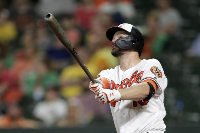 Baltimore Orioles right fielder Trey Mancini watches his two-run home run off Washington Nationals relief pitcher Javy Guerra during the eighth inning of a baseball game, Wednesday, July 17, 2019, in Baltimore. The Orioles won 9-2. (AP Photo/Julio Cortez)