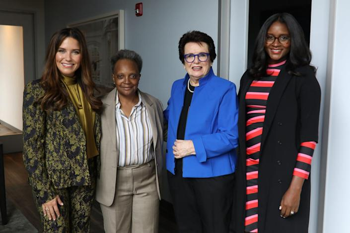 <p>Sophia Bush, Billie Jean King and Nia Batts join Chicago Mayor Lori Lightfoot (second from left) in opening the First Women's Bank flagship — the only women-founded, women-owned and women-led commercial bank in the country — in Chicago on Sept. 22.</p>