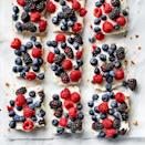 <p>As if no-bake weren't tempting enough, consider that the graham cracker crust for these berry cheesecake bars has pecans in it. Ooh la la! In the filling, nonfat Greek yogurt and reduced-fat cream cheese cut the calories and saturated fat.</p>