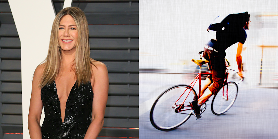 """<p>During the press tour for her movie <em>Horrible Bosses</em>, Jennifer <a href=""""http://movieline.com/2011/06/24/jennifer-aniston-was-a-bike-messenger-and-8-other-revelations-from-the-horrible-bosses-press-confere/"""" rel=""""nofollow noopener"""" target=""""_blank"""" data-ylk=""""slk:said"""" class=""""link rapid-noclick-resp"""">said</a> the """"toughest"""" job she ever had was working as a bike messenger when she was 19. """"[My lowest moment was] probably driving into a door that opened,"""" she <a href=""""http://www.thefrisky.com/photos/15-celebs-who-sucked-at-their-pre-fame-jobs/sucked-jennifer-aniston-jpg/"""" rel=""""nofollow noopener"""" target=""""_blank"""" data-ylk=""""slk:said"""" class=""""link rapid-noclick-resp"""">said</a>. """"I'm very uncoordinated and extraordinarily klutzy."""" </p>"""