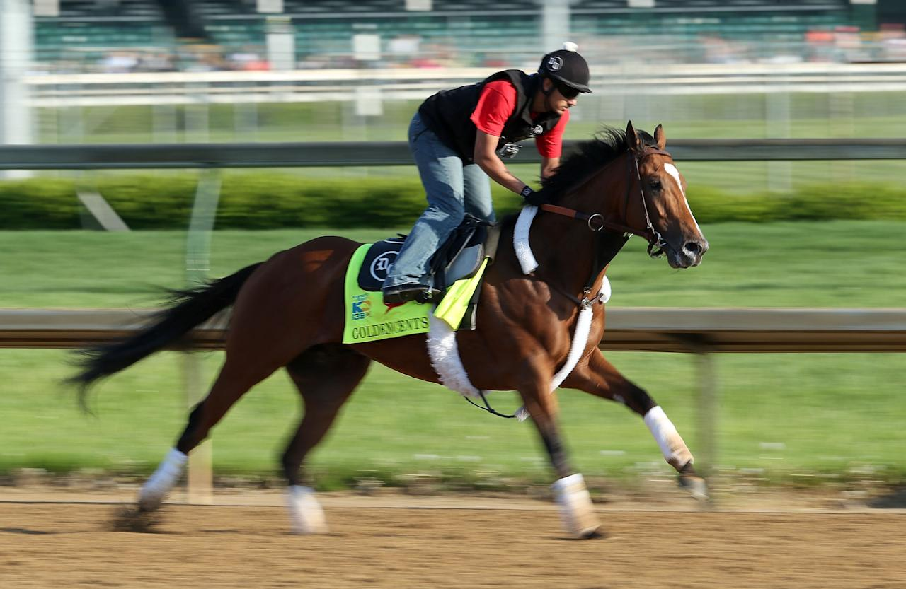 LOUISVILLE, KY - MAY 01:  Goldencents trained by Doug O'Neill runs on the track during the morning training for the 2013 Kentucky Derby at Churchill Downs on May 1, 2013 in Louisville, Kentucky.  (Photo by Andy Lyons/Getty Images)