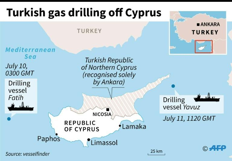 Map locating Turkish gas drilling vessels off Cyprus earlier in July (AFP Photo/Sophie RAMIS)