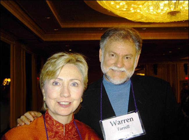 Warren Farrell and Hillary Clinton on New Year's Eve in 2006. (Courtesy of Warren Farrell)