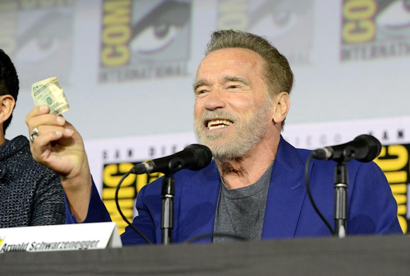 "SAN DIEGO, CALIFORNIA - JULY 18: Arnold Schwarzenegger speaks at the ""Terminator: Dark Fate"" panel during 2019 Comic-Con International at San Diego Convention Center on July 18, 2019 in San Diego, California. (Photo by Albert L. Ortega/Getty Images)"