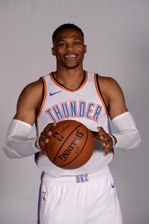 FILE PHOTO: Sep 24, 2018; Oklahoma City, OK, USA; Oklahoma City Thunder guard Russell Westbrook (0) poses for photos on media day at Chesapeake Energy Arena Mandatory Credit: Mark D. Smith-USA TODAY Sports