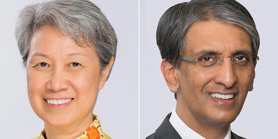 Outgoing Temasek Holdings CEO Ho Ching (left), with Dilhan Pillay Sandrasegara taking over her. (PHOTO: Temasek Holdings)