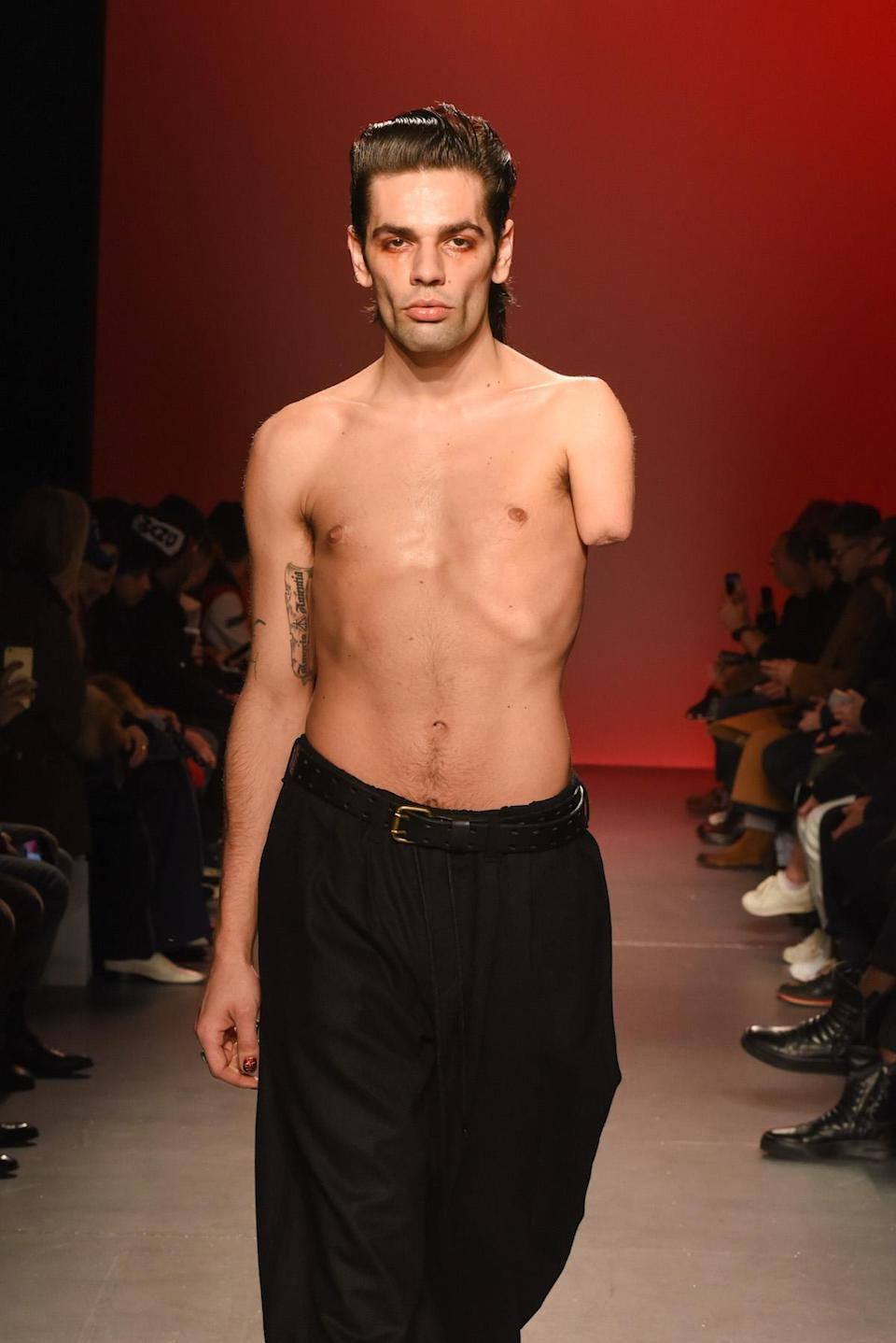 <p>An amputee model at the Willy Chavarria show. (Photo: Getty Images) </p>