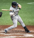 New York Yankees' Luke Voit is hit by a pitch from Tampa Bay Rays starter Luis Patino during the fourth inning of a baseball game Tuesday, May 11, 2021, in St. Petersburg, Fla. (AP Photo/Steve Nesius)