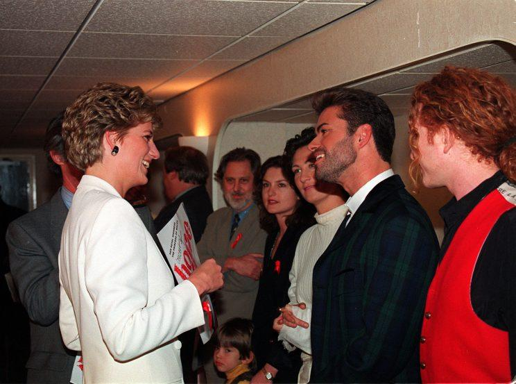 Princess Diana meets George Michael on World Aids Day in 1993 (PHOTO BY MARTIN KEENE.)