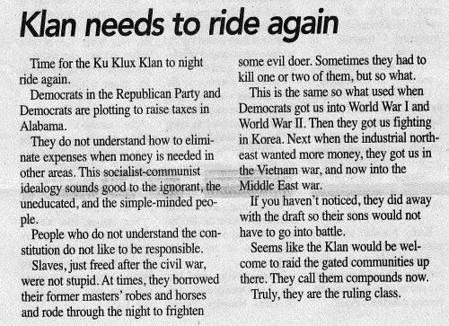 """The editor and publisher of a small-town Alabama newspaper last week called for the resurgence of the Ku Klux Klan to """"clean up D.C."""""""