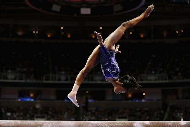 SAN JOSE, CA - JULY 01: Gabrielle Douglas competes on the beam during day 4 of the 2012 U.S. Olympic Gymnastics Team Trials at HP Pavilion on July 1, 2012 in San Jose, California. (Photo by Ezra Shaw/Getty Images)