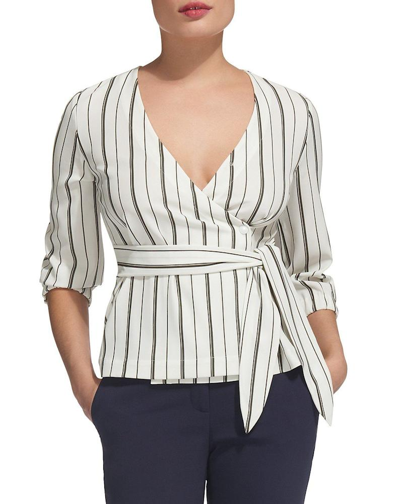 """Get it <a href=""""https://www.bloomingdales.com/shop/product/whistles-lianne-striped-wrap-top?ID=2756896&amp;CategoryID=2910&amp;linkModule=1#fn=spp%3D9"""" target=""""_blank"""">here</a>.&nbsp;"""