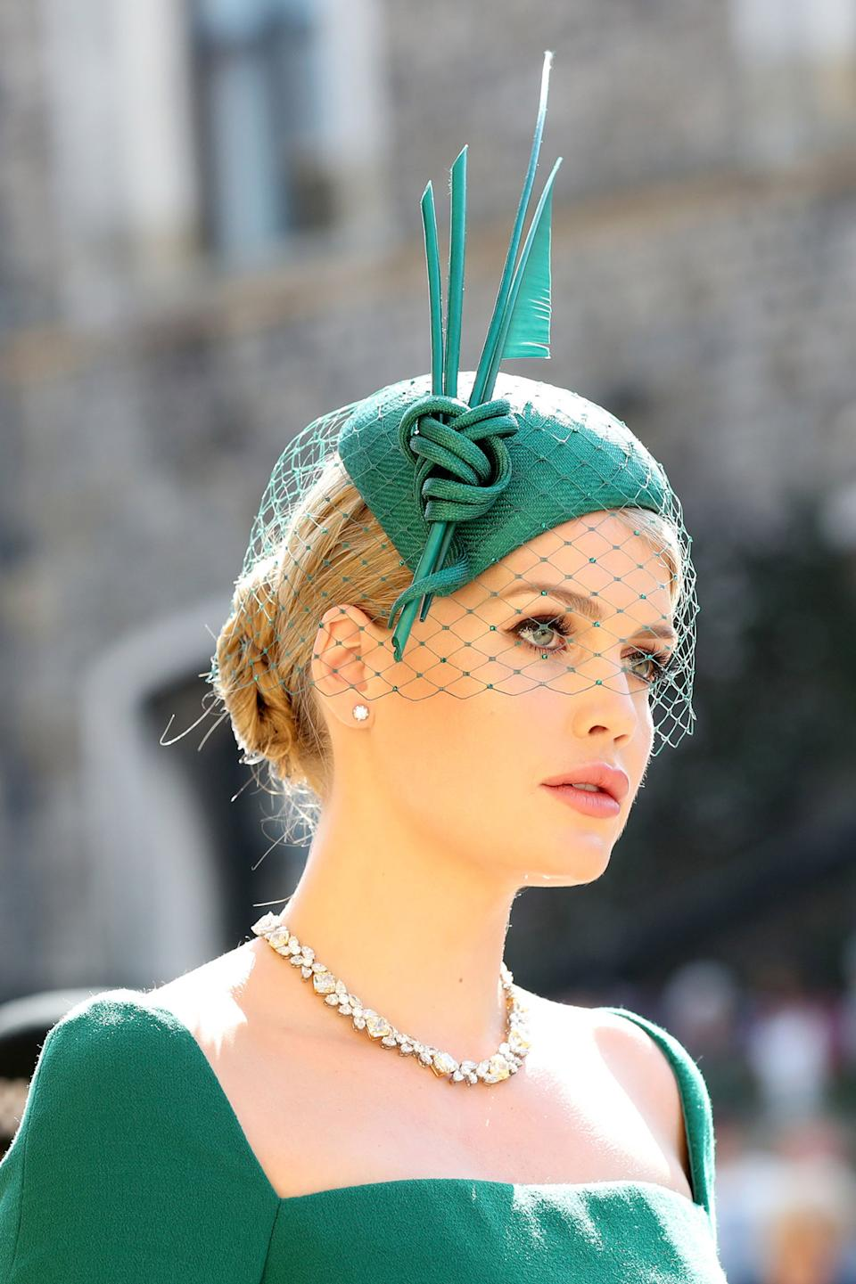 WINDSOR, UNITED KINGDOM - MAY 19:  Lady Kitty Spencer  arrives at St George's Chapel at Windsor Castle before the wedding of Prince Harry to Meghan Markle on May 19, 2018 in Windsor, England. (Photo by Gareth Fuller - WPA Pool/Getty Images)