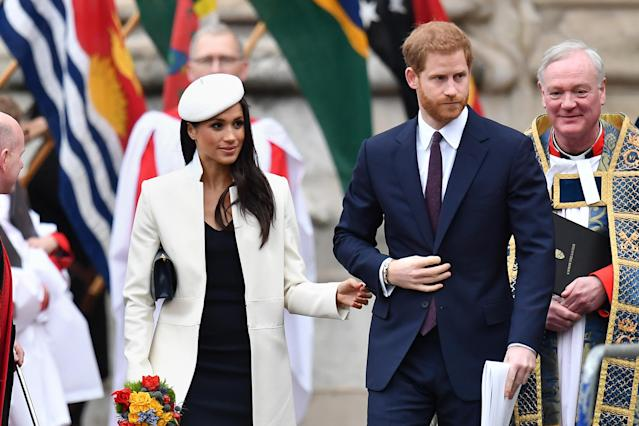 Prince Harry and Markle on Commonwealth Day. (Photo: PA)
