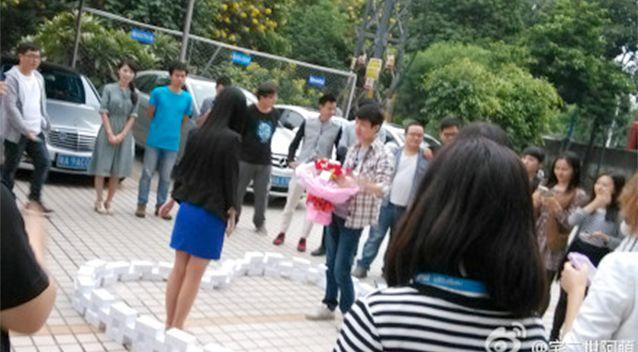 Images have begun to surface of the 'romantic' proposal. Photo: Weibo