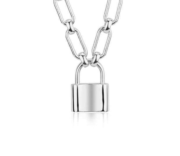 """<p>Blue Nile Sterling Silver Padlock Necklace, $195, <a href=""""https://rstyle.me/+GBShWpgDifagkNfeQ0_Qzw"""" rel=""""nofollow noopener"""" target=""""_blank"""" data-ylk=""""slk:available here"""" class=""""link rapid-noclick-resp"""">available here</a>.</p>"""
