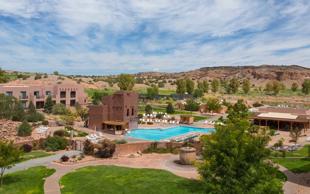 """<p>Owned by the Tamaya people of the Santa Ana Pueblo, the <a href=""""https://www.hyatt.com/en-US/hotel/new-mexico/hyatt-regency-tamaya-resort-and-spa/tamay"""">Hyatt Regency Tamaya Resort & Spa</a> in Albuquerque is comprised of 550 acres of pools, walking trails, stables, restaurants, and a golf course. However, it's their in-depth Native-focused resort activities that make it an ideal place to stay during Native American Heritage Day. Members of the Santa Ana Pueblo offer insight into their culture by leading daily on-site activities such as archery, jewelry-making, adobe brick making, and tours in the Tamaya Cultural Learning Center. Traditional dance and flute performances and Tamaya storytelling under the stars are some of the most treasured Native American cultural experiences guests can enjoy.</p>"""