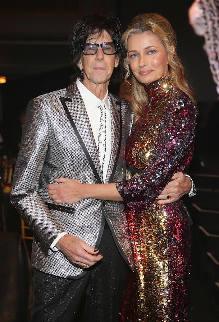 CLEVELAND, OH - APRIL 14:  Inductee Ric Ocasek of The Cars and Paulina Porizkova attend 33rd Annual Rock & Roll Hall of Fame Induction Ceremony at Public Auditorium on April 14, 2018 in Cleveland, Ohio.  (Photo by Kevin Kane/Getty Images For The Rock and Roll Hall of Fame)