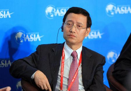 Wang Yincheng, president of the People's Insurance Group of China, attends at a panel discussion at the Boao Forum for Asia in Qionghai