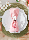 """<p>Here's a sweet idea for this year's Easter brunch: Make your own custom napkins by rolling a floral stamp with a thin layer of fabric paint (here, red) and applying it to light pink linens.</p><p><a class=""""link rapid-noclick-resp"""" href=""""https://www.amazon.com/Tulip-41438-Dimensional-Fabric-Paint/dp/B0011451HQ?tag=syn-yahoo-20&ascsubtag=%5Bartid%7C10050.g.1111%5Bsrc%7Cyahoo-us"""" rel=""""nofollow noopener"""" target=""""_blank"""" data-ylk=""""slk:SHOP RED FABRIC PAINT"""">SHOP RED FABRIC PAINT</a></p>"""