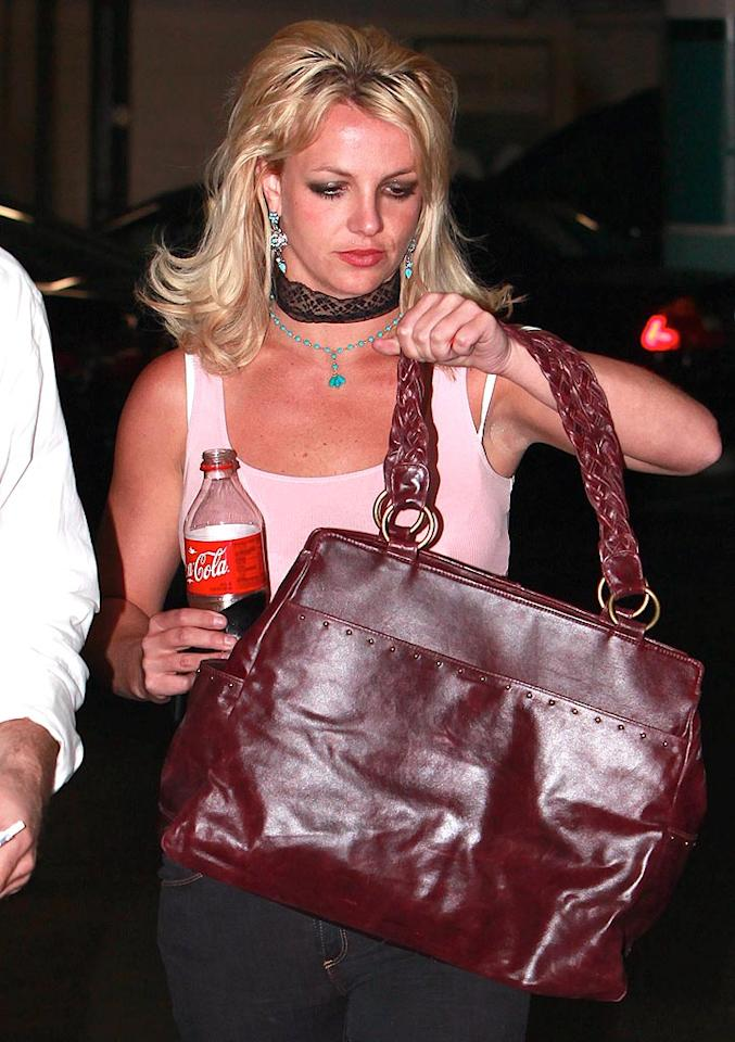 """Britney was successful in bringing back the school girl skirt trend when her first video, """"... Baby One More Time,"""" debuted in 1998. But she's not having as much luck resurrecting fads these days. Are any of you planning to dust off and wear your lace choker necklace from 1993? Didn't think so. RS/<a href=""""http://www.x17online.com"""" target=""""new"""">X17 Online</a> - April 28, 2010"""