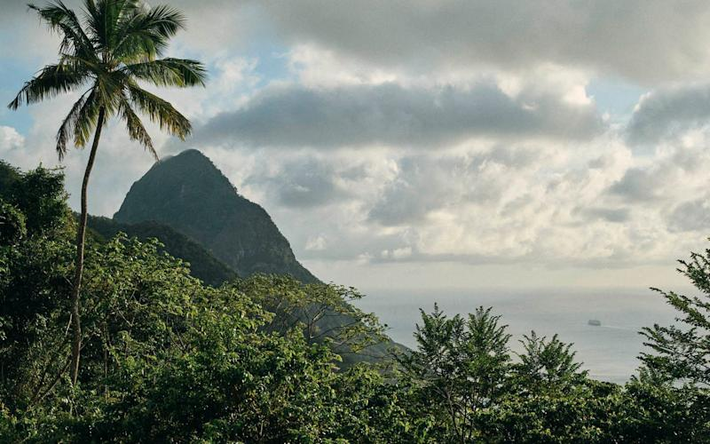 Boucan hotel has views of the Pitons, volcanic spires near Soufrière, St Lucia - Credit: Ben Quinton