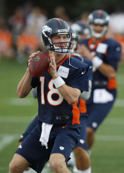 Denver Broncos quarterbacks Peyton Manning, front, Caleb Hanie, center, and Brock Osweiler take part in drills at the team's training camp in Englewood, Colo., on Friday, July 27, 2012. (AP Photo/David Zalubowski)