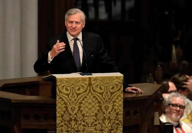 <p>Jon Meacham speaks during a funeral service for former first lady Barbara Bush at St. Martin's Episcopal Church, April 21, 2018 in Houston, Texas. (Photo: David J. Phillip-Pool/Getty Images) </p>
