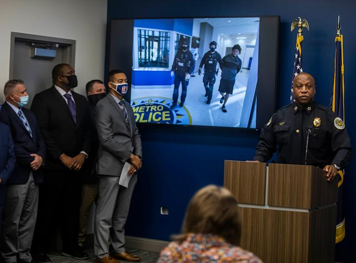 MNPD Chief John Drake speaks during a press conference held at Metro Nashville Police Headquarters announcing a suspect was arrested for the murder of Caitlyn Kaufman Friday, December 11, 2020.