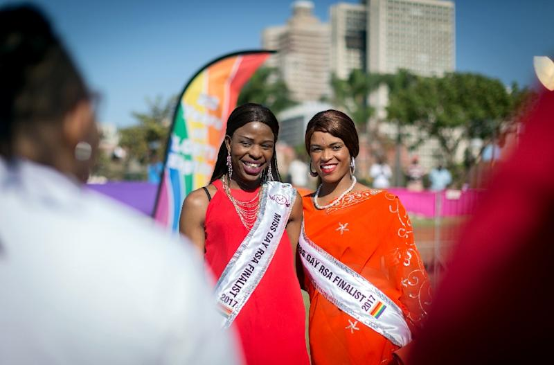 Pride: Fiona Thabatha, left, and Shakira Leota, finalists in the 2017 Miss Gay South Africa competition. The country's 1996 post-apartheid constitution scrapped legal discrimination on the grounds of sexual orientation (AFP Photo/RAJESH JANTILAL)