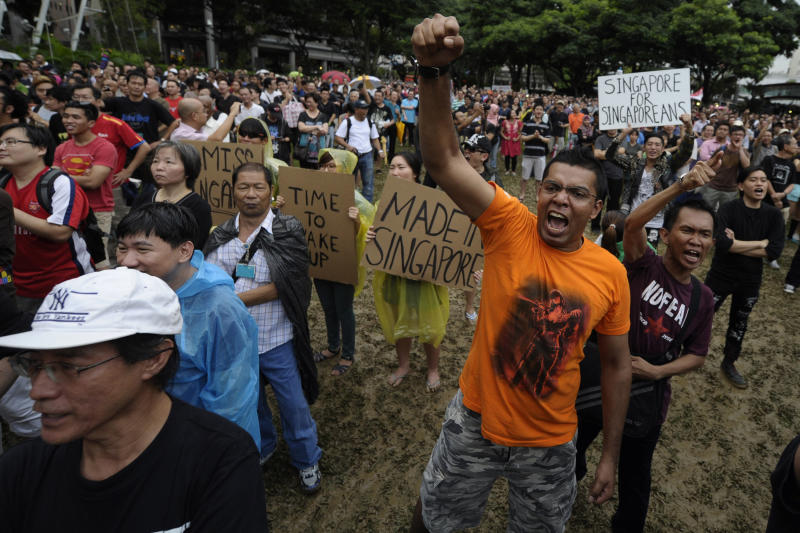 Rare Singapore protest against population plan