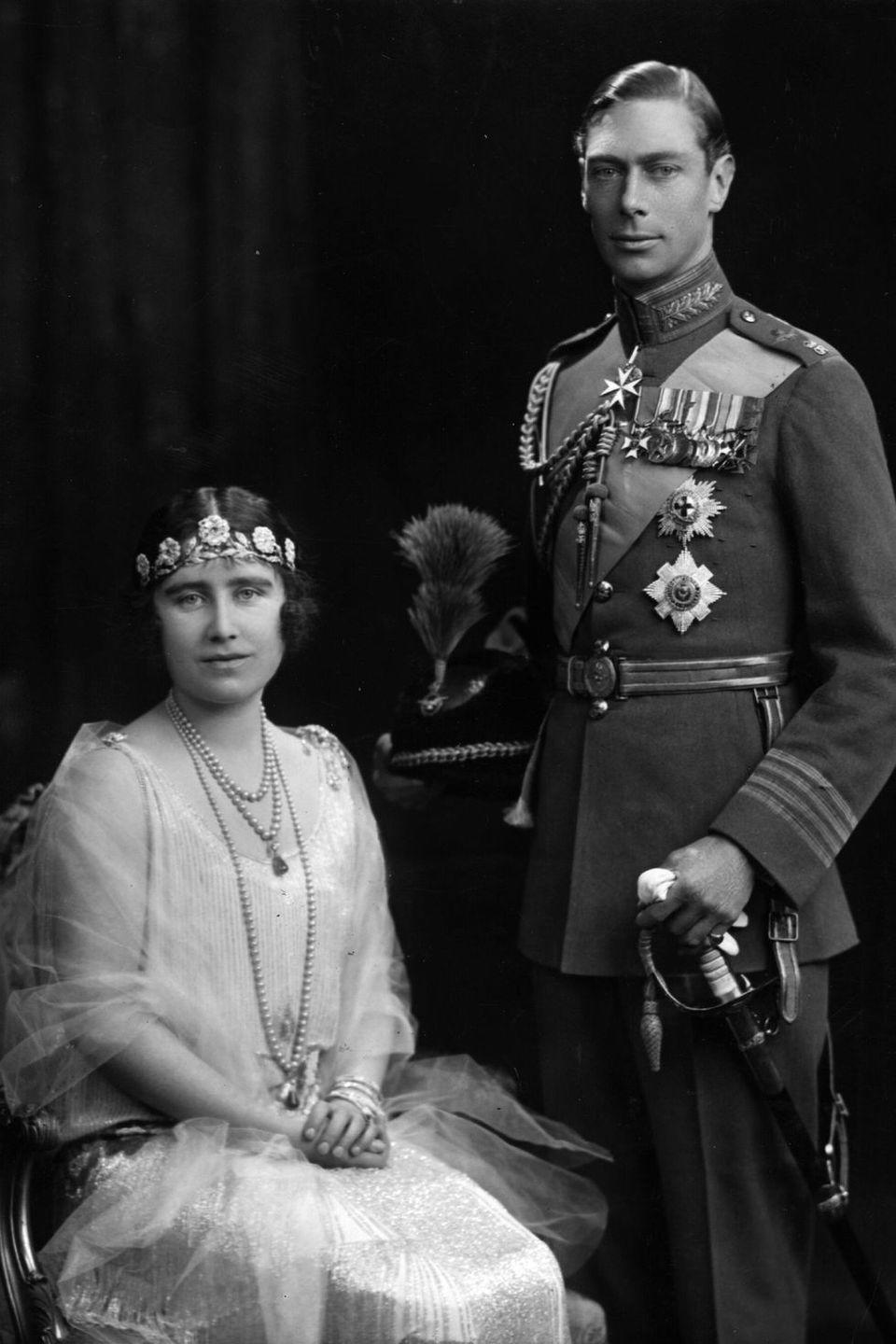 <p><strong>Wedding date: </strong>April 26, 1923 </p><p><strong>Wedding tiara: </strong>For her bridal portraits, Queen Elizabeth's mother wore the Strathmore tiara, which was a wedding gift from her father, the Earl of Strathmore. The tiara likely dates back to the late nineteenth century, and it features a garland of roses set with rose-cut diamonds. </p>